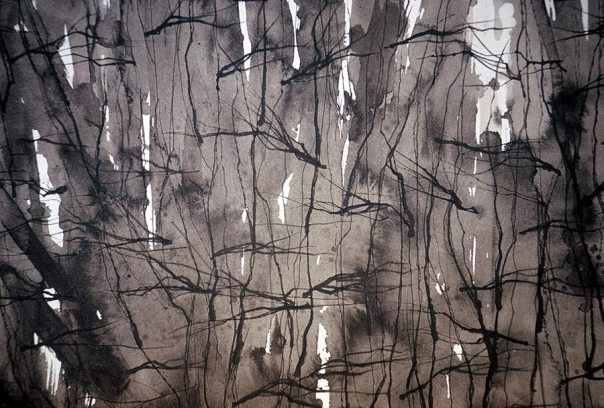 Forest 2, sumi ink painting on paper in black and white, cropped
