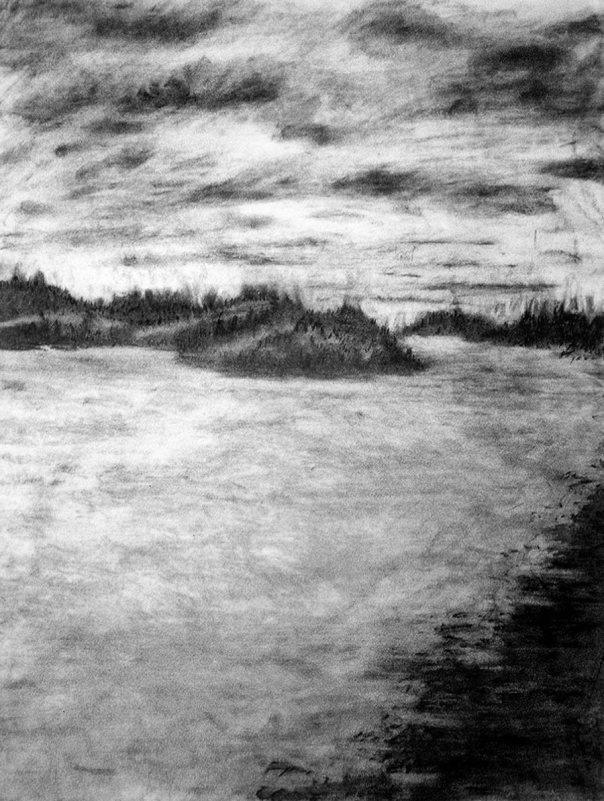 Sea and islands, charcoal on paper