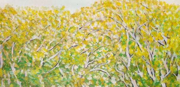 Yellow green trees, acrylic on paper